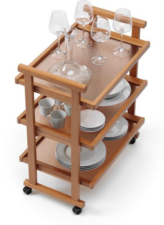 Стол сервировочный на колесиках со стеклом Arredamenti - GREGORY CHERRY