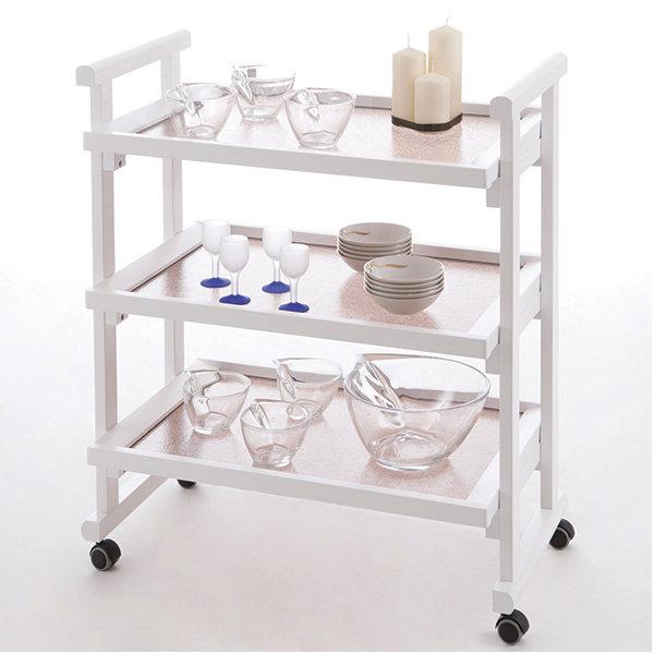 Стол сервировочный на колесиках со стеклом Arredamenti - GREGORY BIANCO
