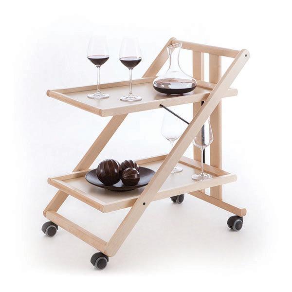 Сервировочный столик складной на колесиках Arredamenti - GIMMY NATURAL