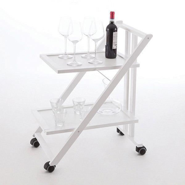 Стол сервировочный складной на колесиках Arredamenti - SIMPATY BIANCO